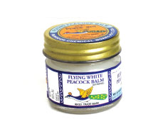 Flying white peacock balm is the pain reliever balm formulated by Rangoon Chemicals which can be used for the treatment of toothache, muscular pain, insect bites, etc